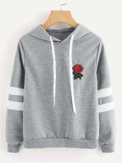 68ae09d176f9d Shop Rose Patch Stripe Sleeve Hoodie online. SheIn offers Rose Patch Stripe  Sleeve Hoodie & more to fit your fashionable needs.
