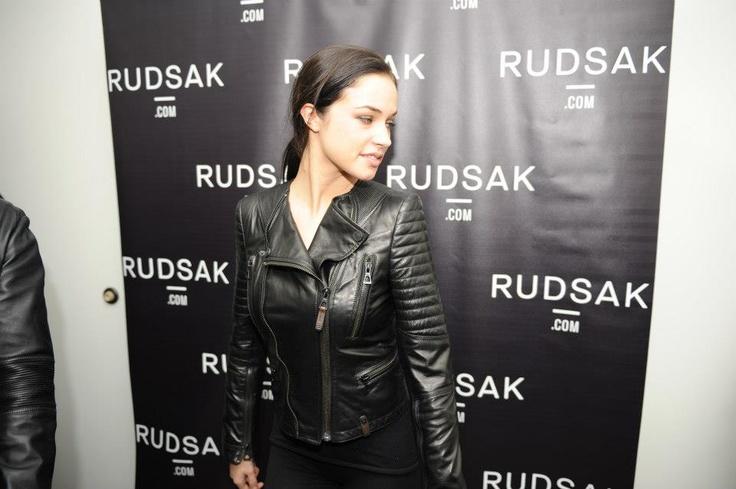 Project X's Alexis Knapp looking moto-chic wearing FW13 at the RUDSAK/Miami Lounge.  #rudsaksundance. Park City, UT.  01.19.13