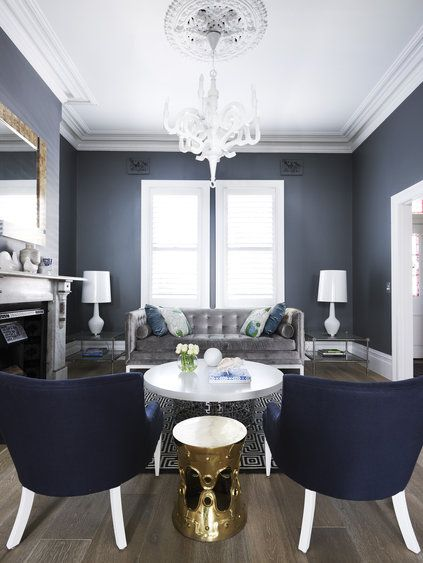 Good Deep Blue: Navy Furniture Combines With Grey And White With Gold Highlights  In Clark Payne House By Greg Natale Design.