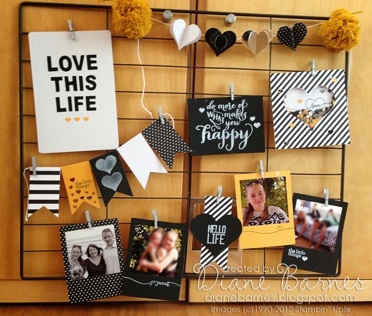 Stampin Up display board with Hello Life project kit & stamp set. By Di Barnes
