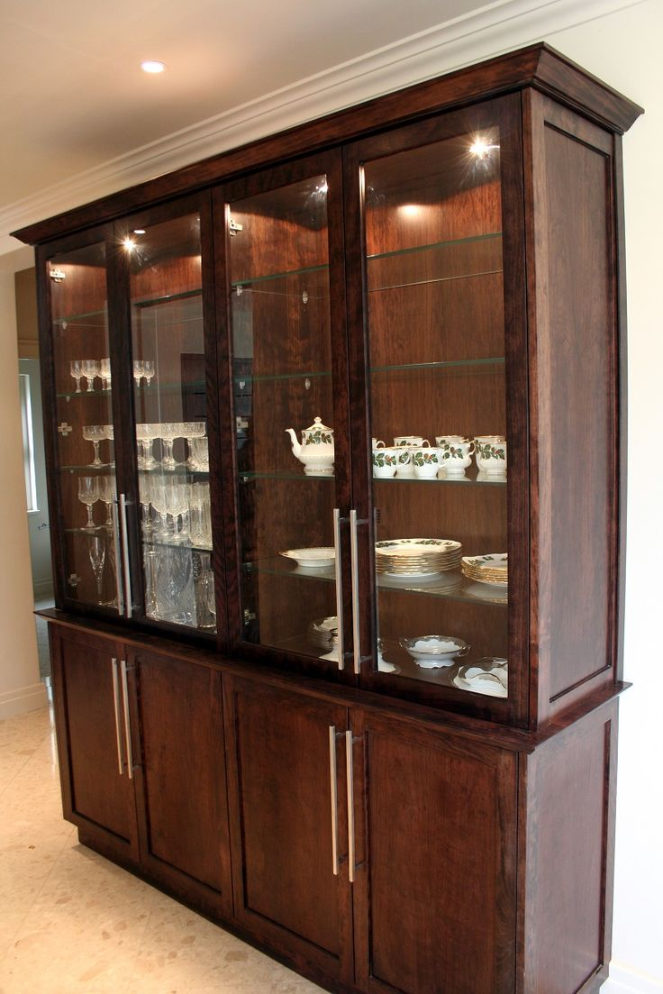 Stained Cherry wood display cabinet