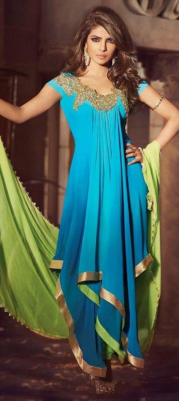 414031, Bollywood Salwar Kameez, Faux Georgette, Lace, Resham, Blue Color Family