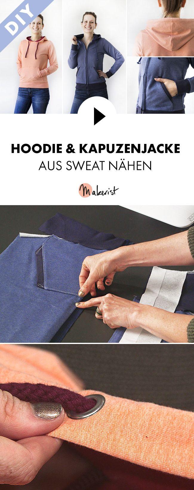Hoodies nähen mit Sweatstoff - Schritt für Schritt erklärt im Video-Kurs via Makerist.de