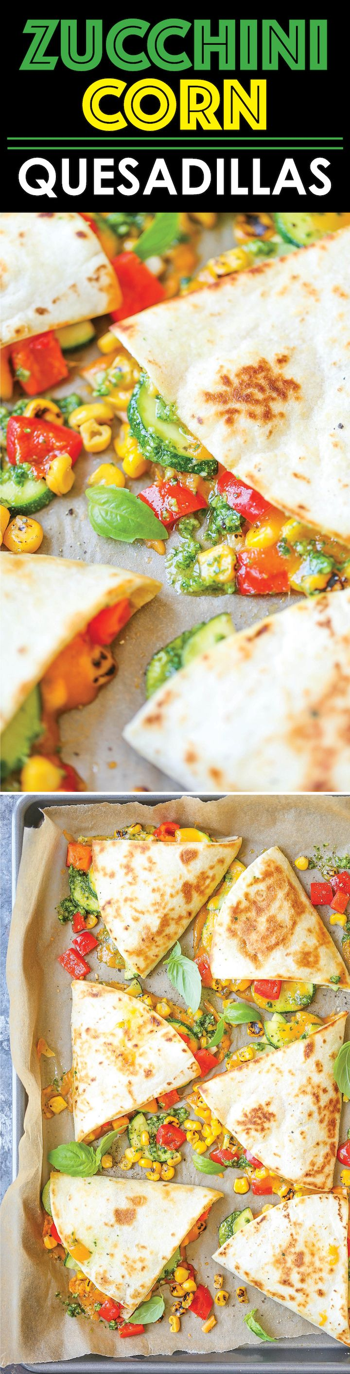 Zucchini Corn Quesadillas - This is so quick, simple and light! And with homemade (or store-bought pesto), this comes together in minutes. It's fool-proof!