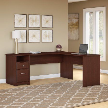 Bush Furniture Cabot 72w L Shaped Computer Desk With Drawers In Harvest Cherry Red Desk With Drawers L Shaped Executive Desk Sit To Stand