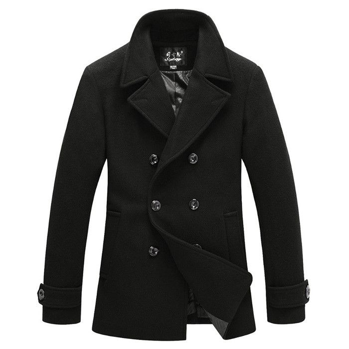 The Foster Wool Peacoat Black – Leather & Cotton