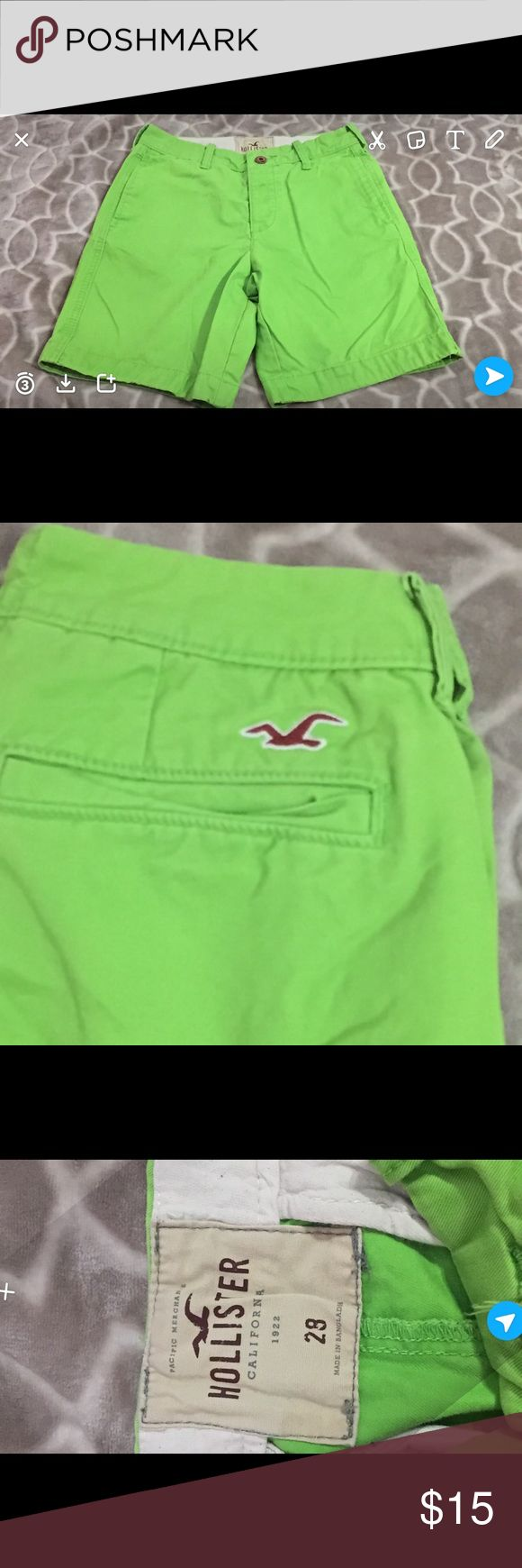Boys Hollister Lime Green Preppy fit Shorts Size 28.Boys preppy fit. Hollister brand shorts. Lime green. EUC Hollister Shorts