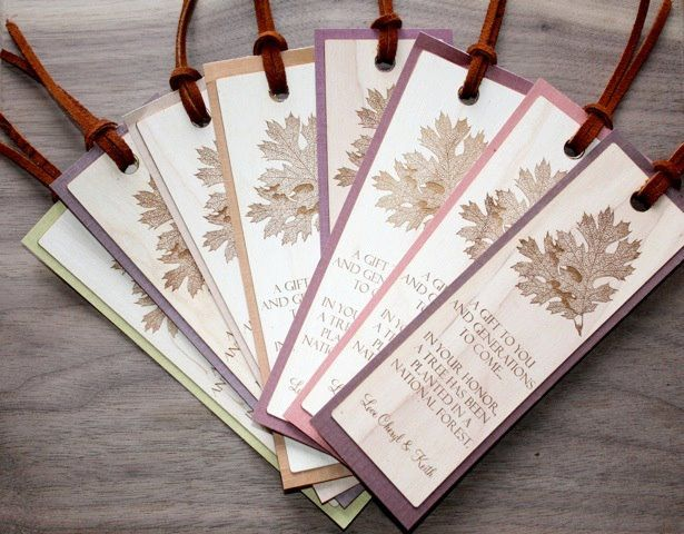 Wood bookmarks in lieu of wedding favors by Naturally Chic. # ...
