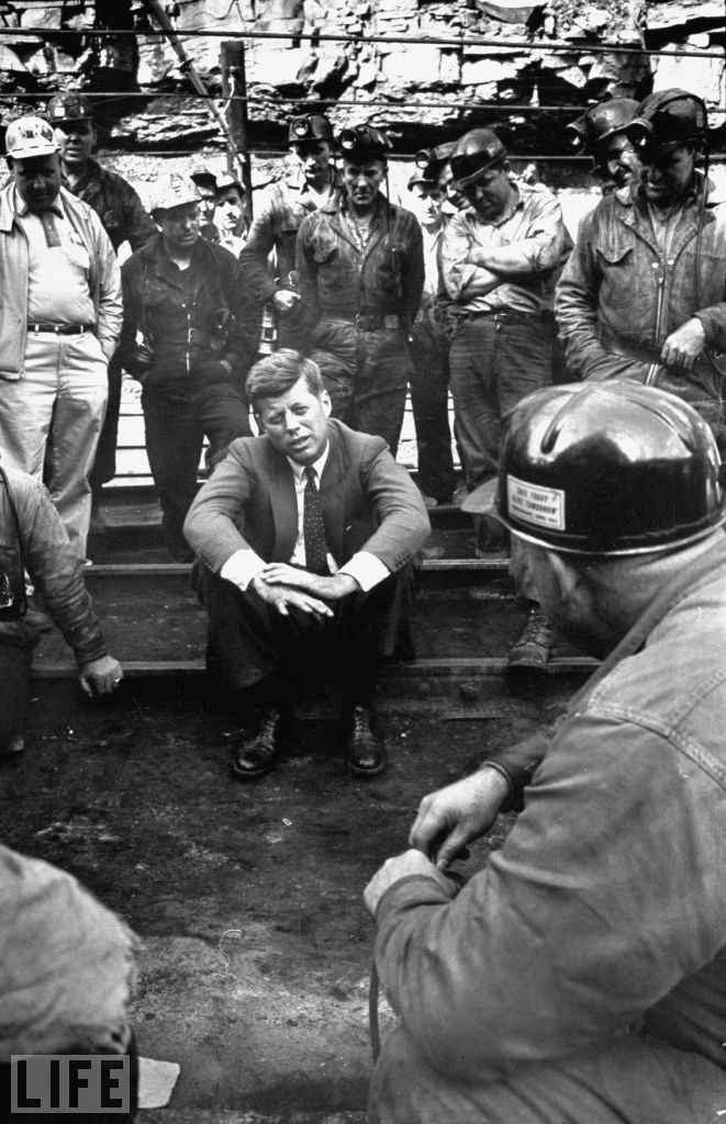 Stops on the trail. JFK chats with a group of miners during his travels on the 1960 campaign trail. (Hank Walker / Time & Life