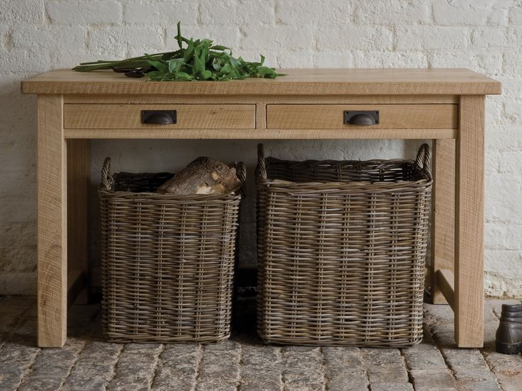 *NEW Riven Oak Office Console perfect for use as a desk or with some beautiful wicker baskets as pictured...  £749.00