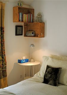Like the way these shelves work in the corner - bedside table