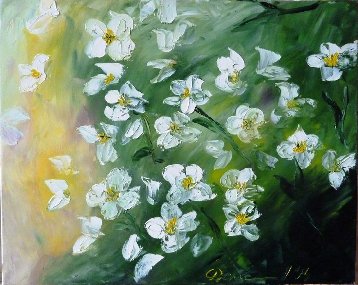 "Oil on canvas, knife painting ""White flowers"""