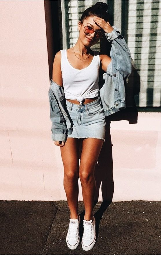 3ca34805d simple denim look with jean skirt and a white tank top | Street ...