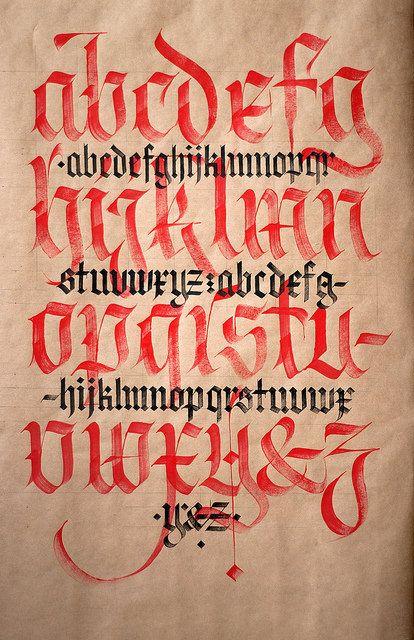 Fraktur vs. Textura. | by Syntax One - Fraktur vs. Textura.  Fraktur vs. Textura practice. Flat brushes 10 mm + 5 mm. Based on an alphabet by Luca Barcellona.