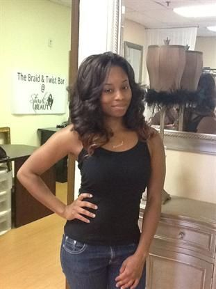 Tree Braids with Body Wave Hair in 1B/30 with Ombre' Effect