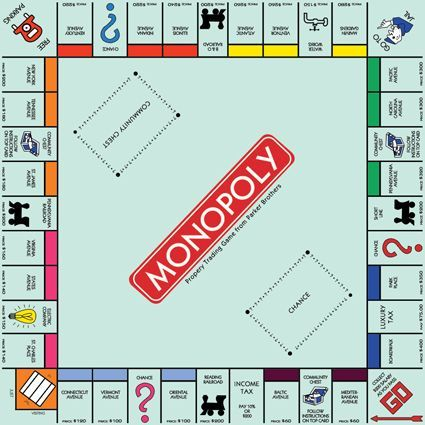 Este es el tablero de mi juego de mesa favorito, Monopoly.