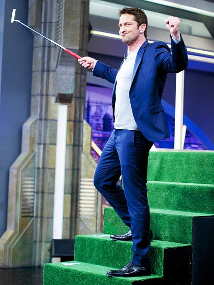 Star Tracks: Friday, February 12, 2016   GOLFIN' AROUND   Fore! Gerard Butler tries his hand at mini golf while stopping by the El Hormiguero TV show in Madrid, Spain, on Thursday.