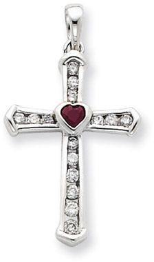ApplesofGold.com - Diamond and Ruby Cross Pendant in 14K White Gold