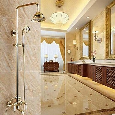 Traditional Shower System Rain Shower / Handshower Included with  Ceramic Valve Two Handles Three Holes for  Ti-PVD , Shower Faucet – AUD $ 344.90
