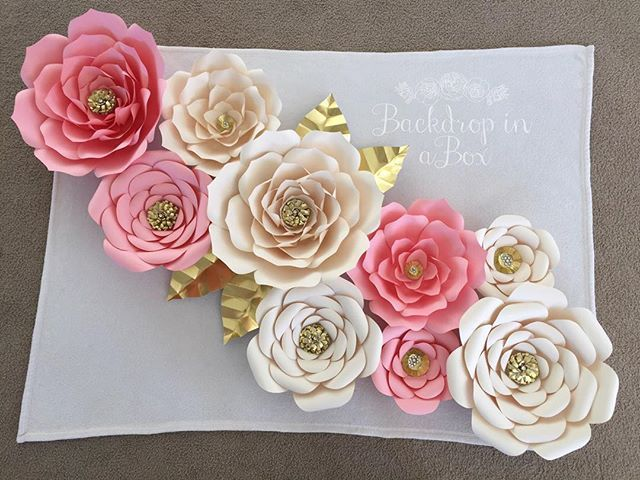 "Back Drop In A Box's paper flowers. So exquisite! Maybe for a ""photo op or photo booth"" area"