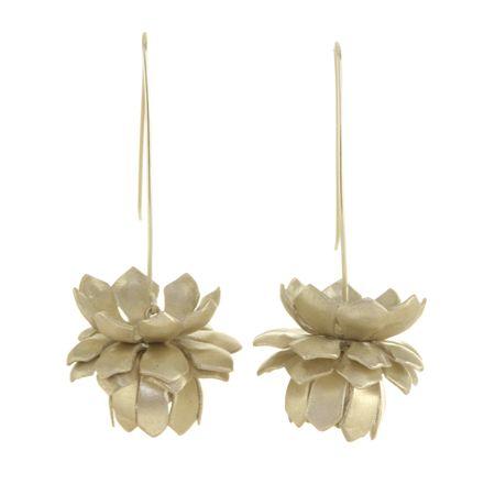 silver lotus earrings. broken english