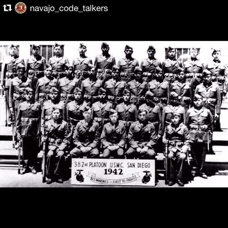 After generously sharing his post on Navajo Code Talker Day Jovanni Allen brought this incredible photo of his grandfather last row third from left and the other 28 original Code Talkers to my attention. Mr. Allen's grandfather and our family friend who also bravely fought in the first wave of Iwo Jima are interconnected in our national gratitude.  Following is Mr. Allen's description and for more historic information on the Navajo Code Talkers and the US Marines follow his account@jovanni…