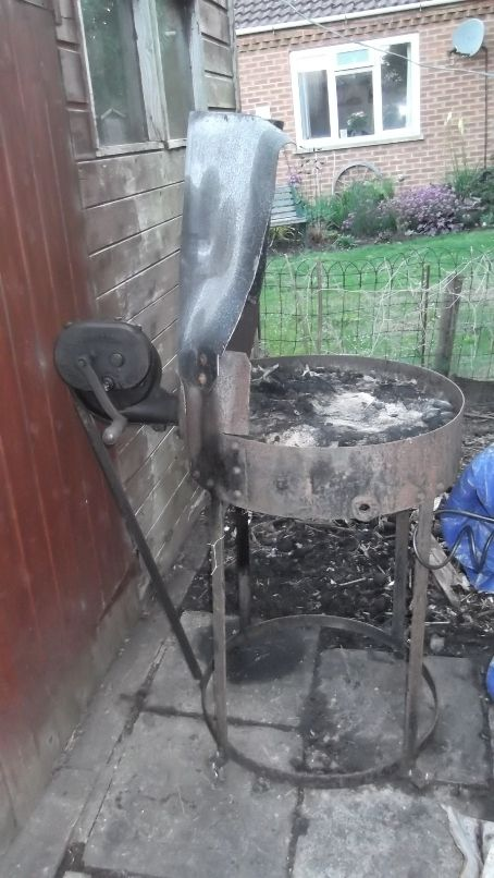 Sold Portable coal Forge with and handcrank blower