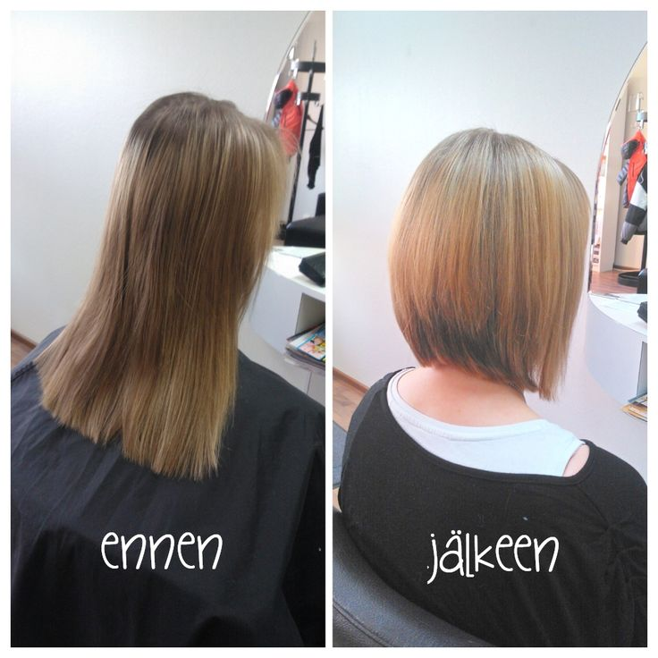 Before and after haircut and highlights. Trendy bob. Hair by Emmi/Parturi-kampaamo Salon Maria Seinäjoki