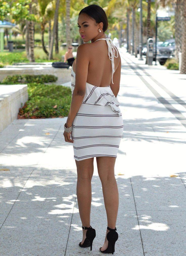 Halter Sleeveless Backless Striped Dress