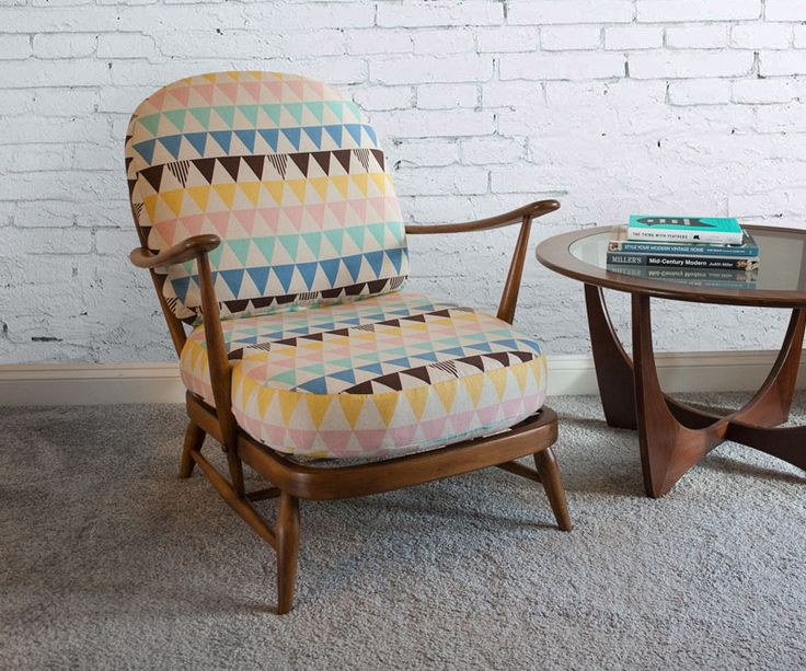 Unique, Reupholstered 1950's Ercol Windsor Chair in natural wood finish with beautiful geometric patterned cotton linen.