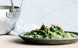Oven Risotto with Kale Pesto - use broth instead of water