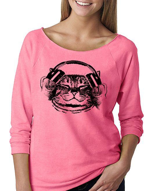Pink Headphone Cat Raglan Tee