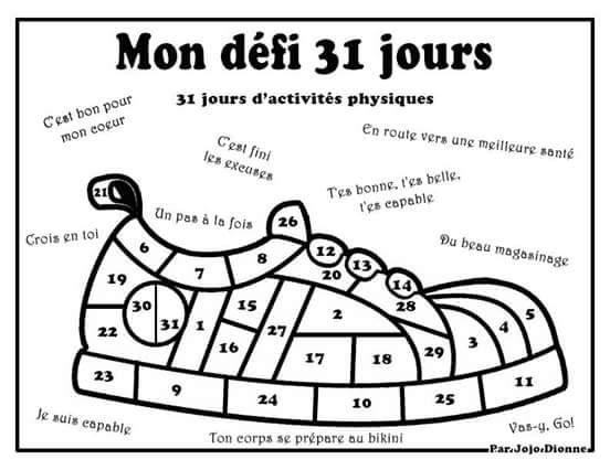 Défi 31 jours  31 jours d activités physique