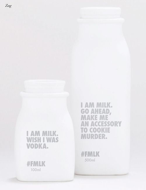 Funny and minimalistic milk packaging