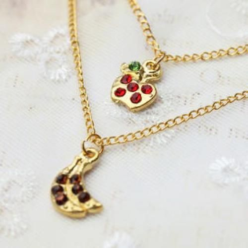 Lovely Apple & banana double chain Necklace