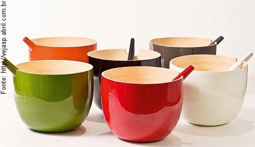 Lindas e coloridas saladeiras em bambu!