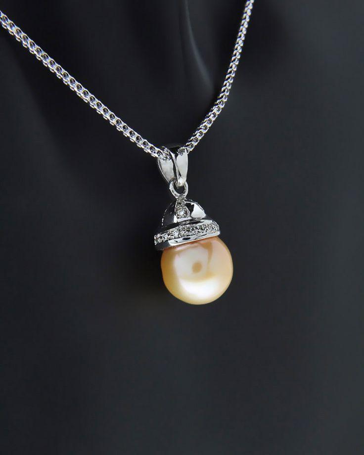 Κολιέ λευκόχρυσο Κ18 με Διαμάντια & Μαργαριτάρι