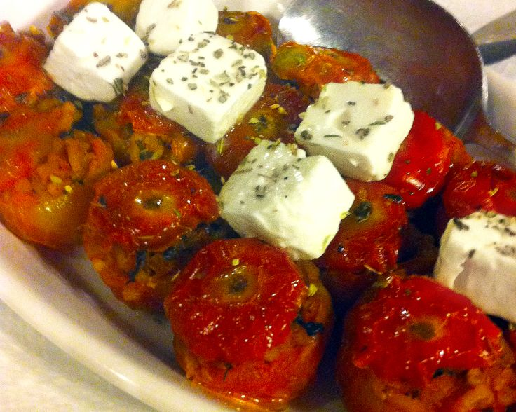 Santorini stuffed cherry tomatoes with bites of feta cheese!