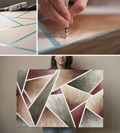 DIY easy artwork. Canvas, half inch masking tape, three colors, and white acrylic paint. Tape up the canvas any which way, paint a gradient with a color in each segment, remove tape, and voila.