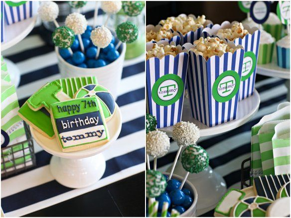 navy + green pool party: new striped popcorn boxes  {supplies from  TomKat Studio Shop}