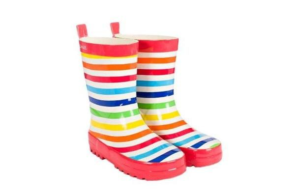 SKEANIE Childrens Kids Tutti Frutti Stripe Gumboots. Sizes 6-5 SKEANIE Gumboots are made from soft rubber with a cotton lining. Perfect for little feet that love to jump in puddles.