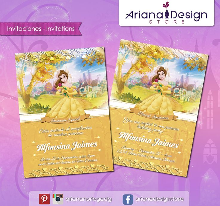 #printable #invitation #disneyprincess #beautyandthebeast #labellaylabestia #arianadesignstore #invitacion #fiestainfantil #cumpleaños #princessbelle #princesabella #princesadisney