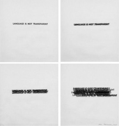 """language is not transparent"" by Mel Bochner"