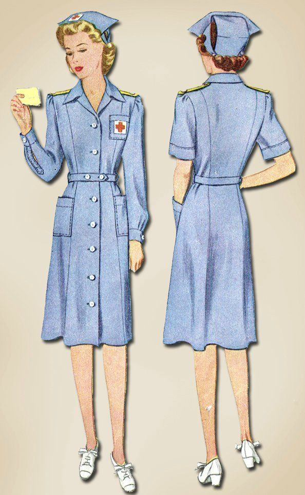 1940s Vintage WWII Red Cross Uniform & Hat 1943 McCall Sewing Pattern Sz 32 B