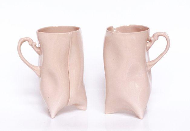Dwa kubeczki z różowej porcelany - en_design - Kubki i filiżanki