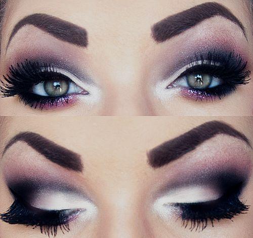 .: Black N White, Eye Makeup, Dramatic Eye, Eye Shadows, Makeup Ideas, Eyemakeup, Eyeshadows, Smokey Eye, Green Eye