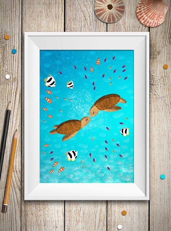 Sea Turtle Couple Print