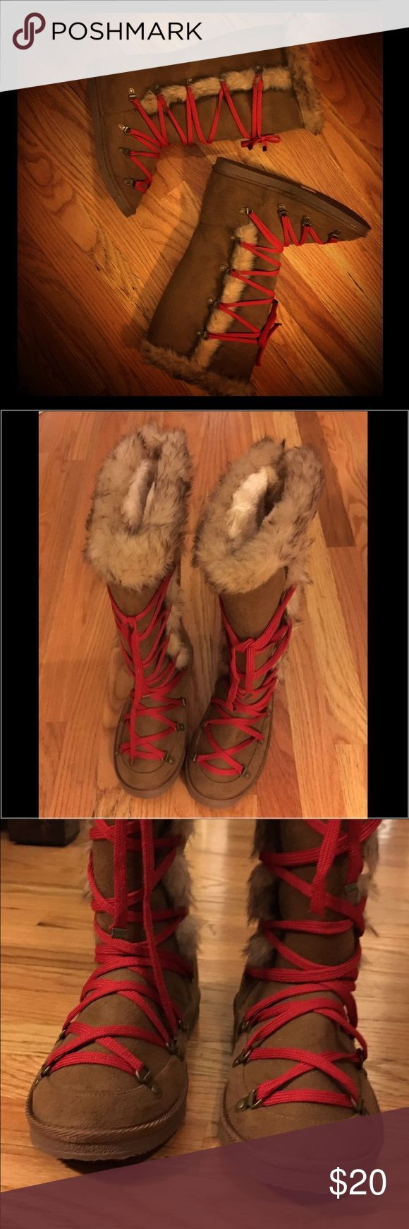 """NEW Yellowknife Fuzzie Boots Women's Sz 8 NEW Yellowknife Fuzzie Boots Women's Sz 8 Stay warm with a fuzzie boot that's all about the details. A lace-up front, d-ring hardware and two-tone faux fur trim make this a unique boot. Faux suede.  16"""" Calf Circumference. Never worn. Smoke free, pet free home. JustFab Shoes"""