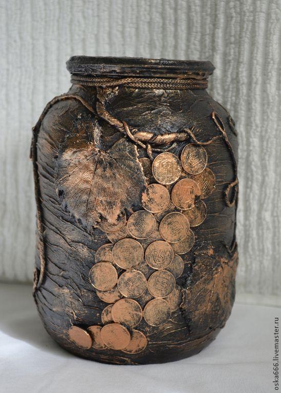 Купить Банка-копилка Богатство - коричневый, копилка, подарок на любой случай, своими руками