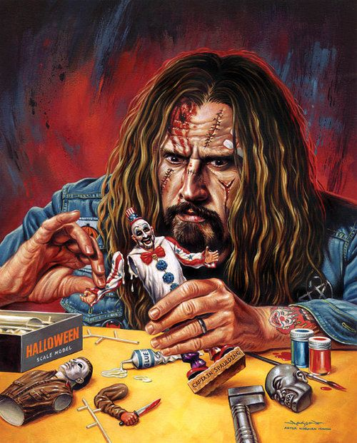 Rob Zombie with his movies action figures